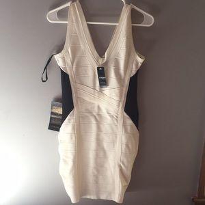 Bebe white and black dress